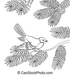 Bird Titmouse on Pine Branch, Contours - Bird Titmouse...