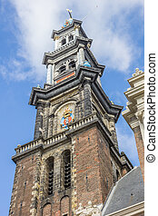 Tower of the Westerkerk church in the center of Amsterdam,...