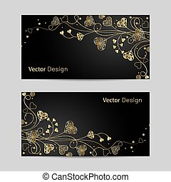 Set of horizontal banners. Beautiful gold pattern with...