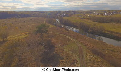 Aerial shot of autumn landscape river - Drone shot aerial...