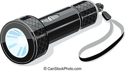 Pocket metallic touristic flashlight. Luminescence...