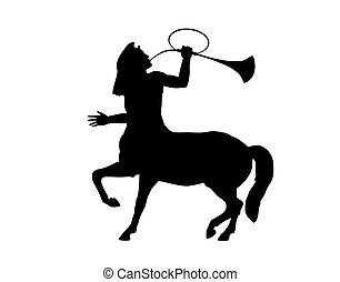 Silhouette of the trumpeting centaur