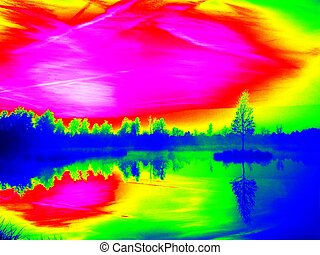 Infrared photo. Mountain lake in dreamy atmosphere, tree on...