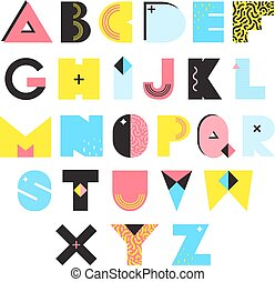 Alphabet Memphis Style Illustration - Colorful alphabet in...