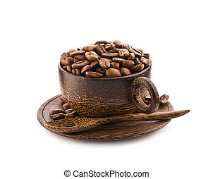 brown wooden cup of teak tree with coffee beans