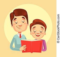 Father and son characters reading. Vector flat cartoon...