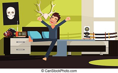 Good morning man character. Vector flat cartoon illustration
