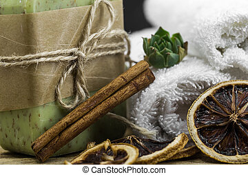 handmade soap on wooden background, concept of beauty and...