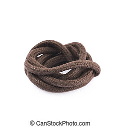 Single shoe lace string folded - Single brown shoe lace...