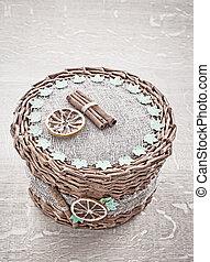 handmade basket vintage stile on wooden board.