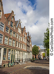 Street with historical houses in Amsterdam