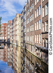 Reflection of houses in a canal in Amsterdam