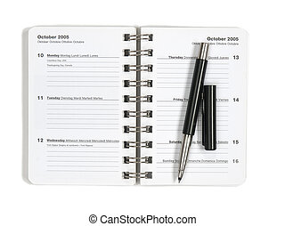 Daily planner with a pen
