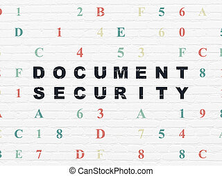 Security concept: Document Security on wall background -...