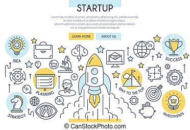 Startup Web Design Concept - Startup Banner Illustration...