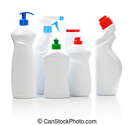 multi kitchen cleaning bottles