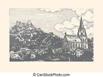 Engraved vector illustration of old village.