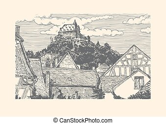 Engraved vector illustration of old village. - Vector...