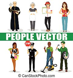 Set of diverse people. Various professions. Policeman, priest, maid, mechanic, seamstress, vacuum cleaner service man, restaurant employee