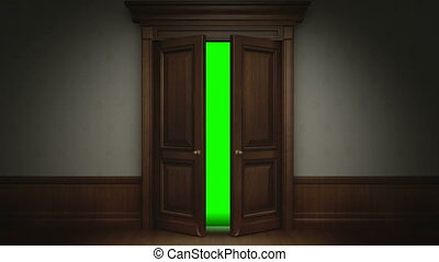 Door opening with chroma key - Two animations+chroma...