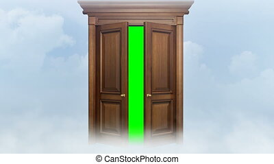 Door opening with chroma key.