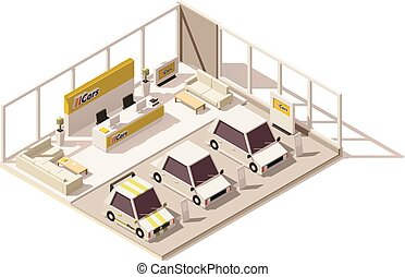Vector isometric low poly car dealership showroom. Includes...