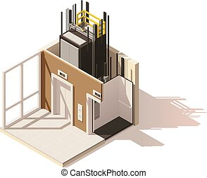Vector isometric low poly elevator cutaway icon. Includes...