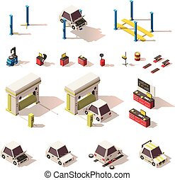 Vector isometric car service equipment set - Vector...