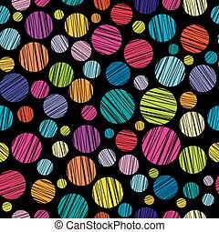 Seamless pattern with colored hatched circles