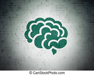 Health concept: Brain on Digital Data Paper background