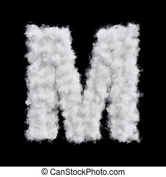 Cloud letter M - Capital letter M font of white cloud shape....