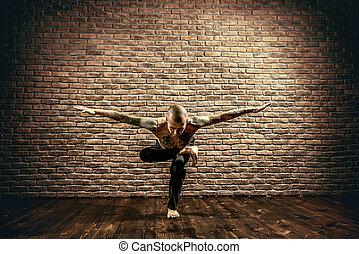 sense of equilibrium - Various difficult yoga poses. Yoga...