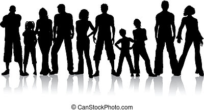 Clipart Vector of Group of people - Silhouette of a group of ...
