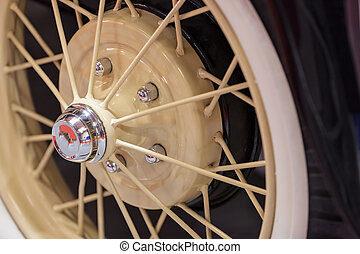 wheel on old-timer - wheel on the old-timer in the...