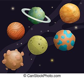 Set of cartoon fantastic planet on space background - Set of...