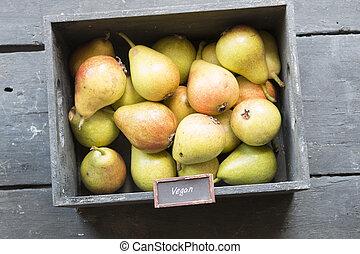 Healthy Organic Pears - Vegan food retro concept - Vegan...