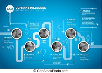 Vector Infographic Company Milestones Timeline Template with...