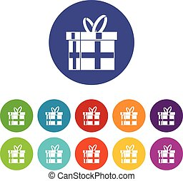 Gift in a box set icons