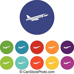 Airplane taking off set icons in different colors isolated...