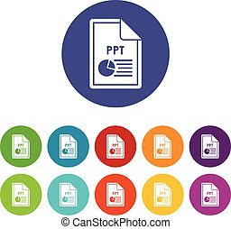 File PPT set icons in different colors isolated on white...
