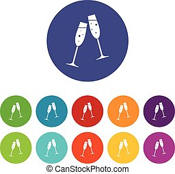 Two glasses of champagne set icons - Two glasses of...