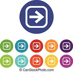 Arrow in square set icons in different colors isolated on...