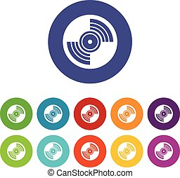 Gramophone vinyl LP record set icons in different colors...