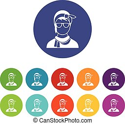Hipster woman set icons