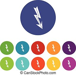 Arrow lightning set icons in different colors isolated on...