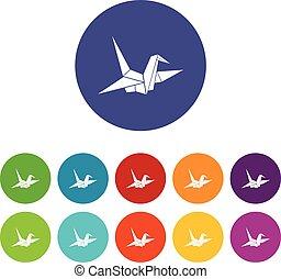 Bird origami set icons