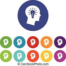 Light bulb inside head set icons
