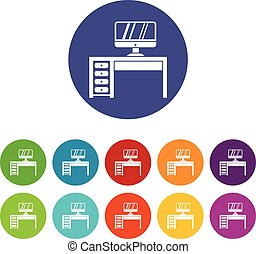 Computer desk, workplace set icons