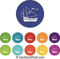 Ship of Columbus set icons