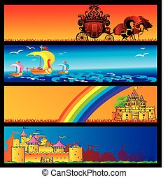 Fairy-tale banners. - Fairy-tale banners with place to...